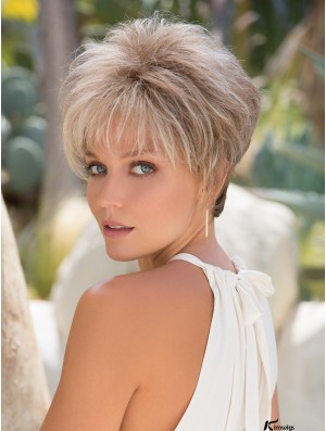 Cropped Platinum Blonde Capless Synthtic Wigs Has A Great Short Wig