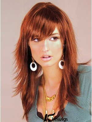 Auburn Color Capless Long Length Layered Cut With Bangs Synthetic Wigs