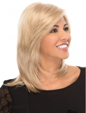 Blonde Synthetic Wigs Without Bangs 14inch Shoulder Length Straight Gorgeous Medium Wigs