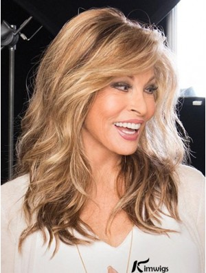 Brown High Quality Monofilament Wigs With Bangs Wavy 16 inch Long Synthetic Wigs