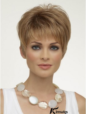 Natural Synthetic Wigs Boycuts Cropped Length Blonde Color Wigs