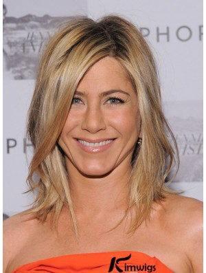 Blonde Jennifer Aniston Wigs With Shoulder Length Layered Cut Lace Front Wigs