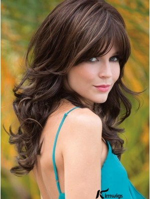"""With Bangs Brown Wavy 18"""" Long Synthetic Wigs"""