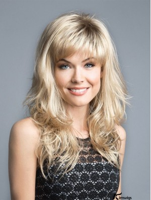 """Blonde 16"""" With Bangs Discount Capless Synthetic Wigs"""