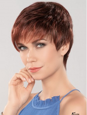 Auburn 4 inch Boycuts Fashionable Capless Synthetic Wigs