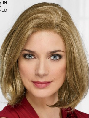 Blonde 12 inch Chin Length Straight Modern Bob Wigs For Women