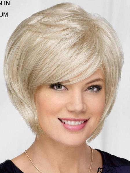 10 inch Chin Length Platinum Blonde Straight Top Bob Wigs