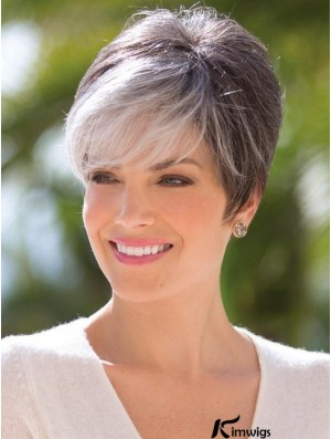 Grey Cropped Straight Capless Boycuts Short Synthetic Wigs For Old Women
