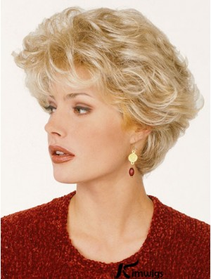 Blonde Color Short Length Classic Cut Synthetic Wigs For Old Women