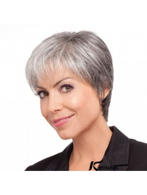Synthetic Comfortable Short Straight Grey Wigs