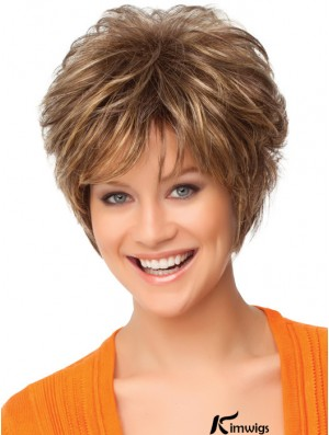 Faddish Auburn Synthetic Short Wigs With Capless Curly Style Short Length