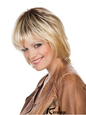 Fashionable Blonde Chin Length With Bangs Straight Glueless Lace Front Wigs