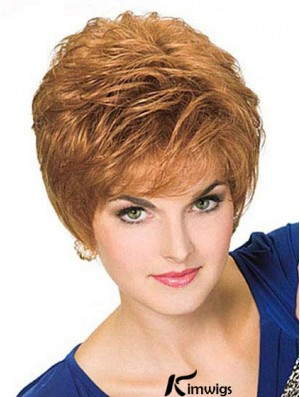 Blonde Colour Cropped Straight Boycuts Style 100% Hand-tied Wigs For Women