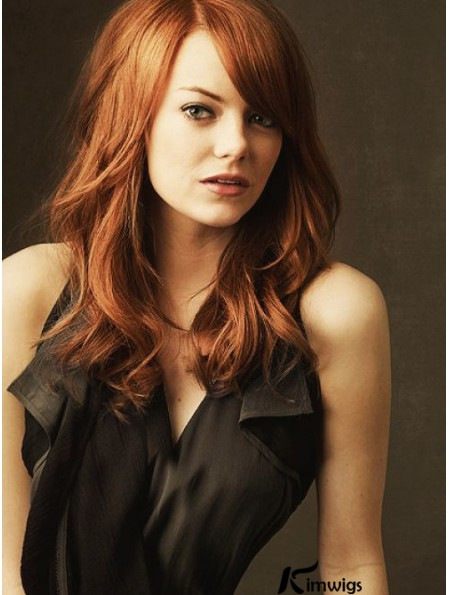 18 inch Wavy Without Bangs Lace Front Copper Hairstyles Long Emma Stone Wigs