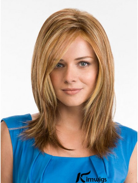 16 inch Synthetic Long Straight Blonde Monofilament Wigs