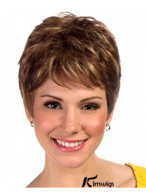 Brown Boycuts Cropped Synthetic Straight Ladies Monofilament Wig For Sale