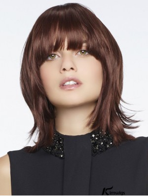 Synthetic Wigs Top Quality Remy Human Straight Style With Bangs