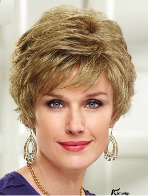 Blonde Short Wavy Capless Layered 8 inch New Synthetic Wigs For Women