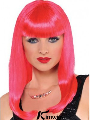 Popular Straight With Bangs Long Red Incredible Lace Front Wigs