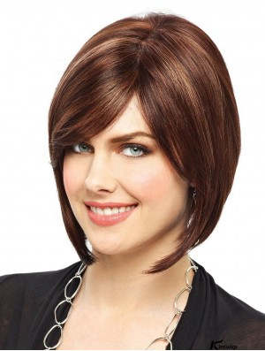 Bobs Chin Length Brown Straight Modern Wigs