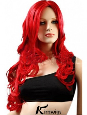 Lace Wigs Synthetic With Synthetic Red Color Wavy Style