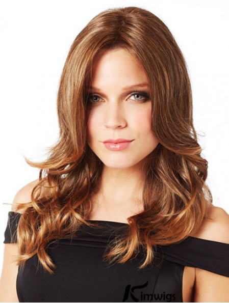 Ideal Brown Long Without Bangs Wavy Glueless Lace Front Wigs