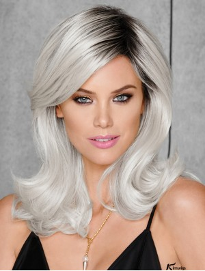 Shoulder Length Wavy 15 inch Capless Grey Sythetic Wigs For Black Women