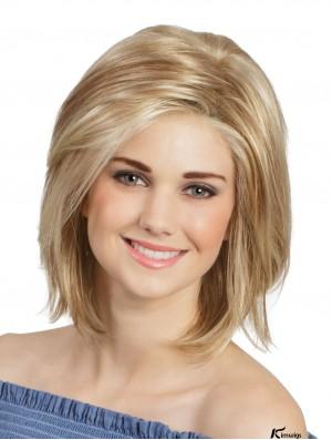 12 inch Straight Blonde Monofilament Cheap Bob Wigs