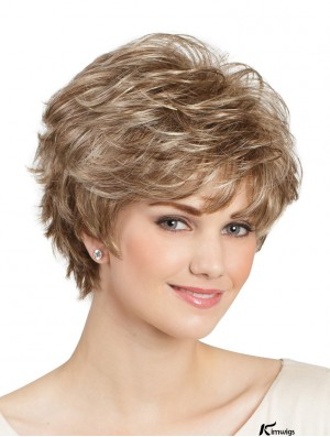 Classic Blonde Colour Short Wavy 8 inch Capless Lady Synthetic Wigs