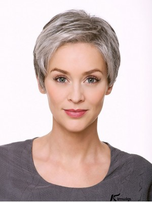 "Monofilament 5"" Cropped Synthetic Straight Grey Wigs"