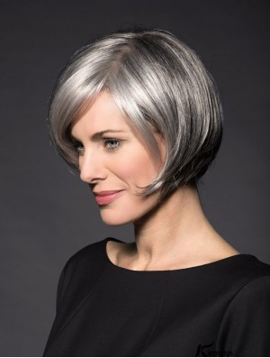 "Lace Front 8"" Short Synthetic Straight Grey Wigs For Women"
