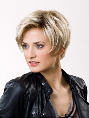 Fashion Straight Layered Lace Front Wigs With 8 inch Blonde Short Good Synthetic Wigs
