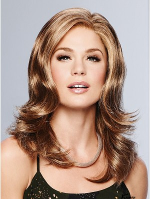 Wavy Copper Layered 16 inch Monofilament Part Lace Wigs