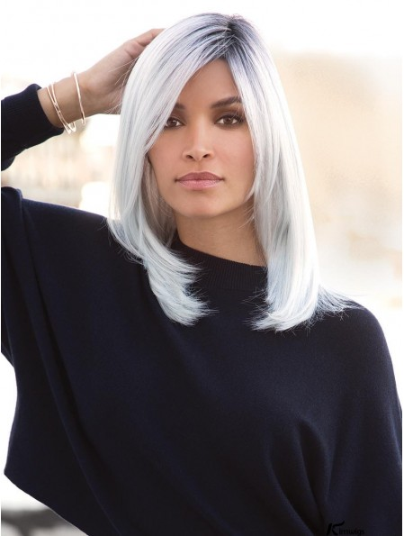 White 16 inch Straight With Bangs 100% Hand-tied Wigs