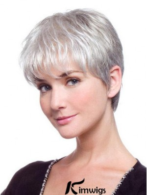 Grey Hair Wig With Synthetic Lace Front Grey Cut Straight Style