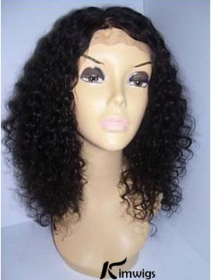 Black Color Shoulder Length Curly Human Hair With Lace Front Wigs For Black African American Women
