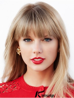 Long Blonde Straight Lace Front Wigs With Bangs Sleek Taylor Swift Synthetic Wigs