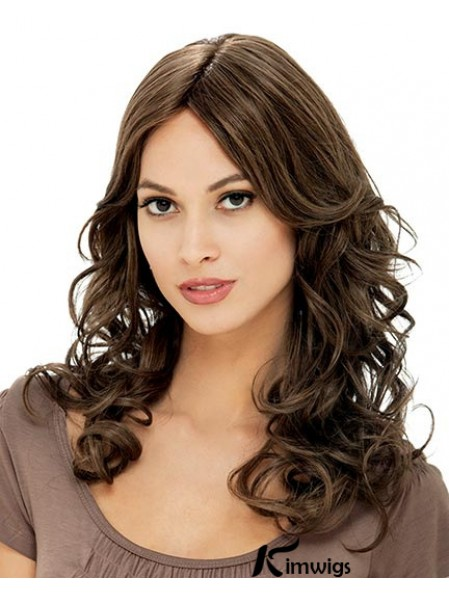 Beautiful Flexibility Brown Long Curly With Bangs 18inch Lace Front Mono Human Hair Wigs