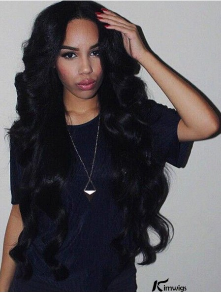 Remy Human Hair 26 inch Without Bangs Black Wavy 360 Lace Wigs