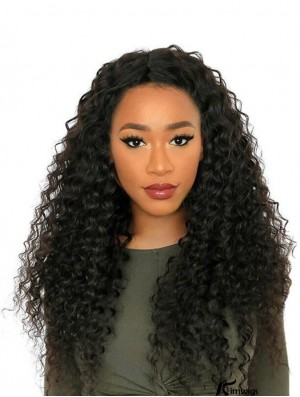 "24"" Without Bangs Black Curly Remy Human Hair 360 Lace Wigs"