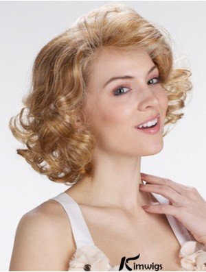 "Blonde 12"" Exquisite Chin Length Curly Classic Lace Wigs"