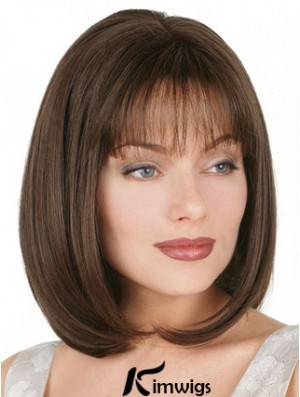 Straight Bob Wig Chin Length Brown Color Bobs Cut With Capless
