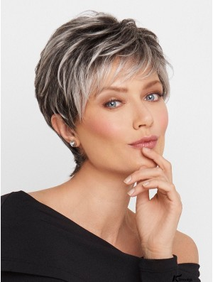 Monofilament Wavy Cropped 5 inch Grey Wigs For Women