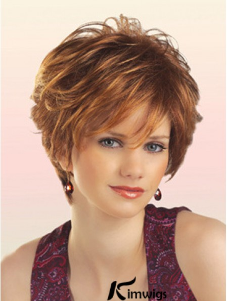 Natural Hair Wig With Capless Short Length Layered Cut