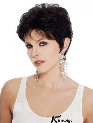 Black Bob Wavy Capless Online Short Synthetic Wigs For Old Women