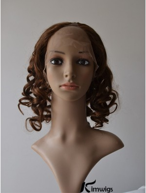 12 inch Lace Front Curly Brown Convenient U Part Wigs