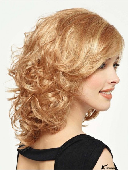 Curly Wig With Bangs Shoulder Length Blonde Color With Capless