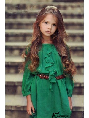 Hand-Tied Wavy Long Auburn Remy Human Hair Lace Front Monofilament Kids Wigs
