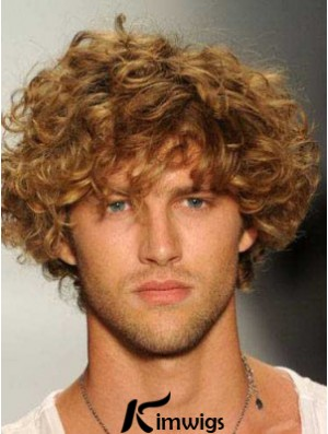 Blonde 8inch Remy Human Hair Curly Layered Capless  Mens Wigs