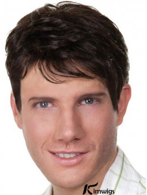 Black Short Straight Style Remy Human Hair Wigs For Men With Capless